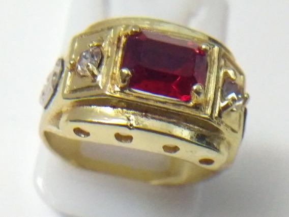Promoção Anel Pedra Vermelha Rubi Grosso Top