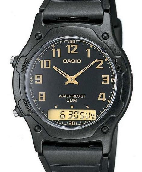 Relógio Casio Masculino Anadigi Mundial Preto Aw-49h-1bvdf