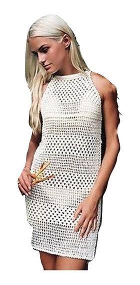 Salida De Playa Mujer Vestido Corto Blusa Cover Up Pareo Crochet Tejido Elegante