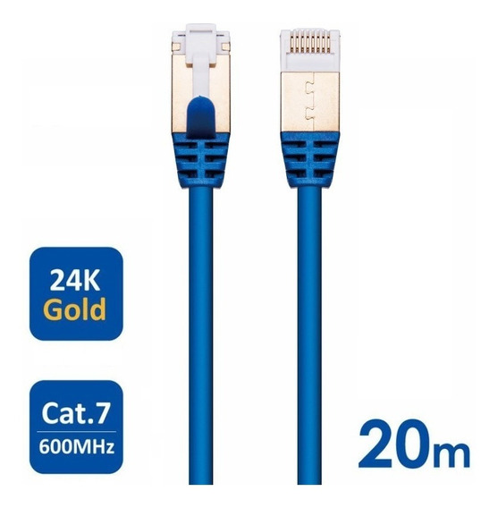 Cabo Cat7 Patch Cat7 27awg 10 Gbps 600 Mhz 20 Metros 20m