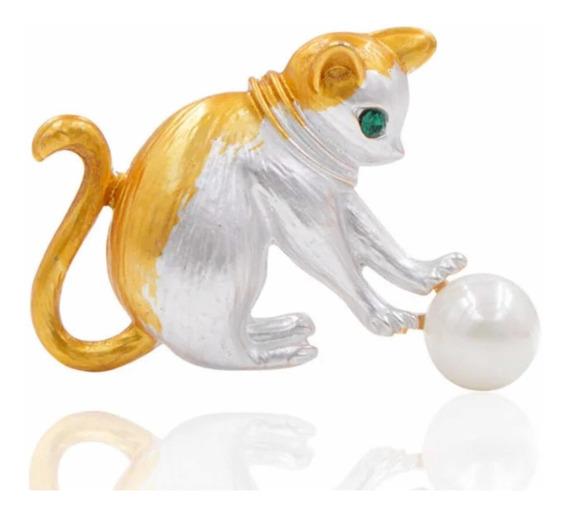 Gato Esmaltado Perla Ojo Rubí Broche Solapa Elegante Dorado