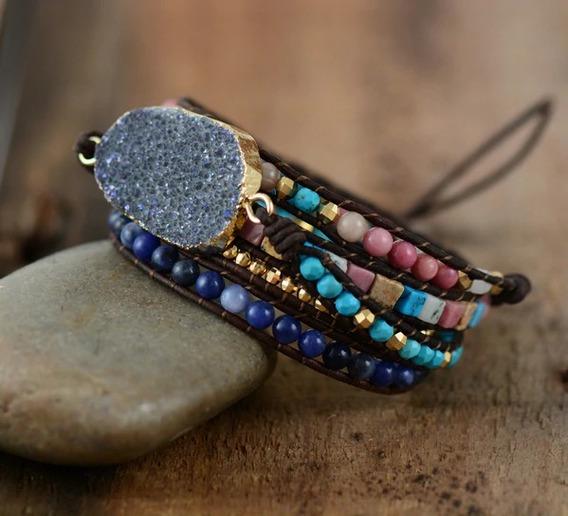 Pulseiras Couro Pedras Naturais 5 Voltas