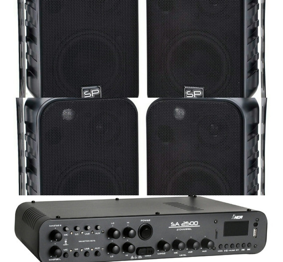 4 Caixas Som Ambient Donner Sp400 + Amplificador 180w Sa2500