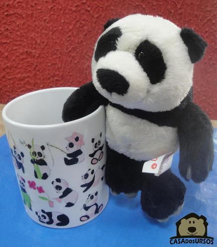Imagem 1 de 7 de Caneca Presente Lembrança De Porcelana + Ursinho Panda 15cm