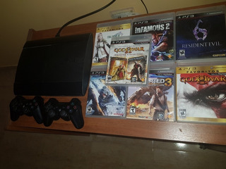 Playstation 3 Superslim 500g. C/joystick Y 7 Juegos Físicos