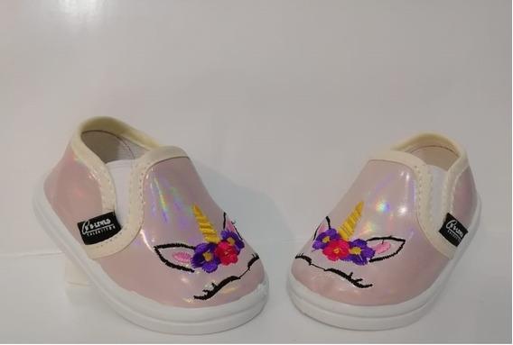 Zapato Tipo Vans Unicornio Beige Tornasol Para Niña