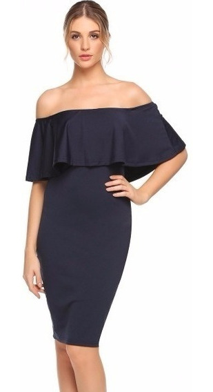 Vestido Azul Marino Lápiz Off Shoulder De Moda Talla Extra