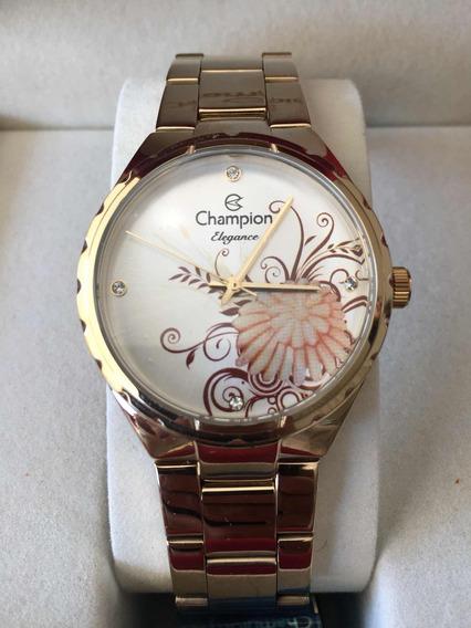 Relógio Original Champion Elegance Cn25501h Dourado