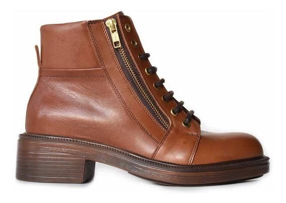 Borcegos Mujer Cuero Briganti Botas Zapato Taco - Mcbo24893