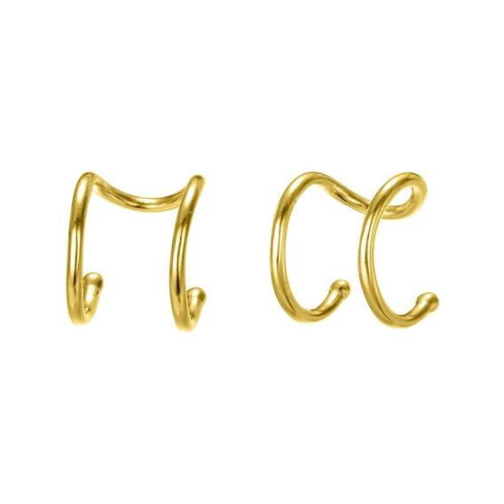 Aretes Ear Cuff Plata 925 Baño De Oro