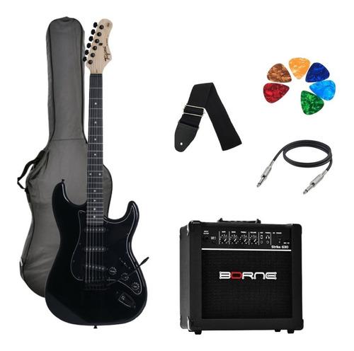 Imagem 1 de 8 de Kit Guitarra Tagima Woodstock Tg500 Bk Strato  G30 Preto