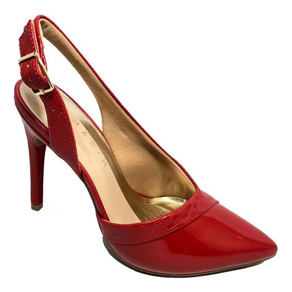 Scarpin Ramarim Verniz Fivela Ouro Feminino - Vermelho