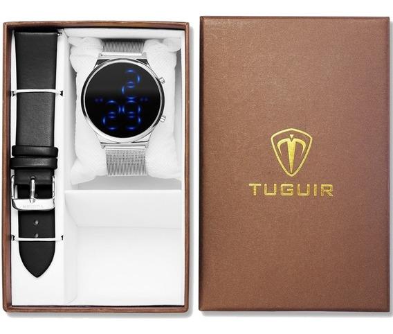 Relógio Feminino Tuguir 2 Pulseiras Original Tg102 Prata