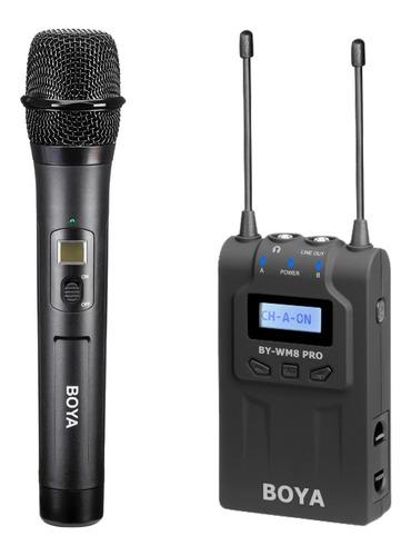 Imagen 1 de 10 de Kit Microfono De Mano Cardioide Receptor Uhf Boya Wm8 Pro