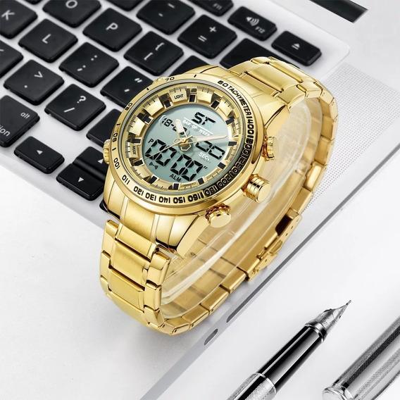 Relógio Led Digital E Analogico Dourado Aço Inoxidável