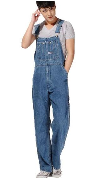 Jardineira Macacão Masculina Jeans Plus Size Pronta Entrega