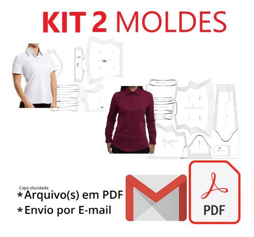 Kit 2 Moldes Camiseta Social Feminina Com Pala - Curta/longa