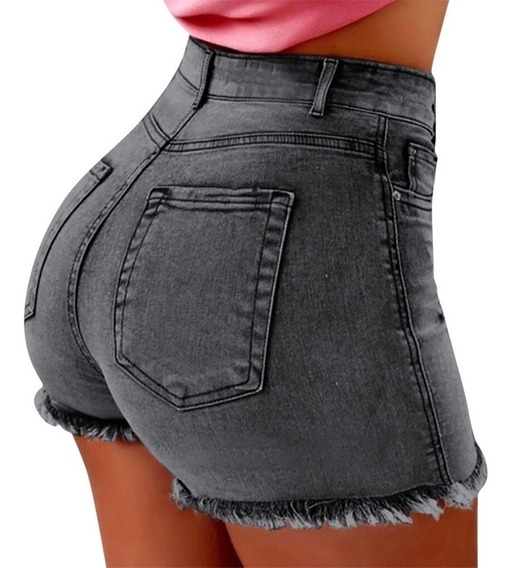 Short Jean Mujer Gris Elastizado Tiro Alto Talle 36 A 44