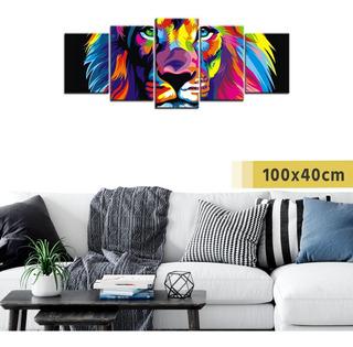 Cuadro Políptico Grande Madera Pintura León Animal Deco Arte