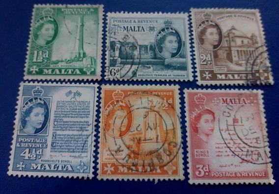 Selo Postal Antigo Malta Lote 6 Selos King S Scroll