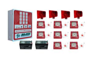 Alarme De Incêndio 8 Laços 4 Sirenes Audio Visual E Baterias
