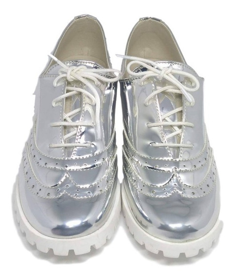 Sapato Oxford Infantil Prata Espelhado - Menina Rio
