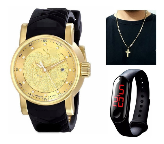 Relógio Dourado Grande Pesado Masculino + Caixa + Brinde Led