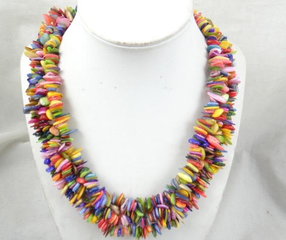 Colar Grande Feminino Conchinhas Coloridas Naturais J1780