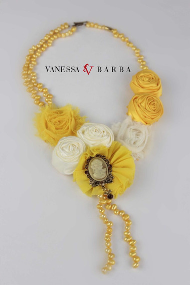 Collar Perla Natural Flores Frida Khalo Camafeo Artesanal
