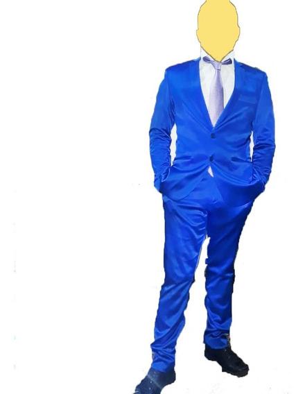 Traje Ambo Hombre Entallado Pantalon Chupin De Vestir Azul F