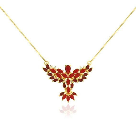 Colar Espírito Santo Semijoia Ouro 18k Com Cristal Vermelho