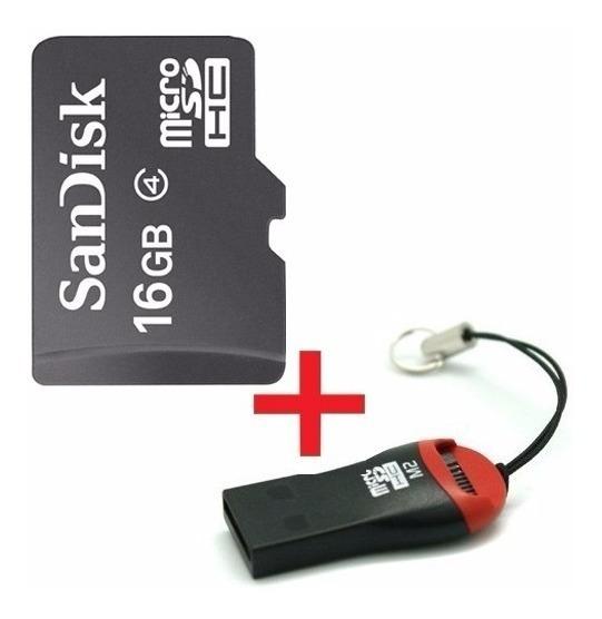 Cartão Memória 16gb Sd Sandisk Original + 1 Leitor Li@