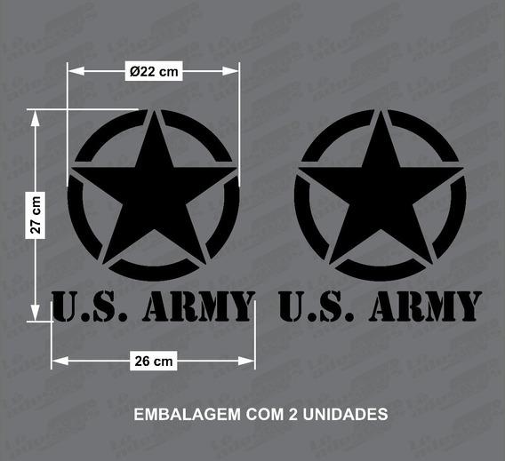 2 Adesivos Estrela Militar-us. Army Jeep/troller 26x27cm