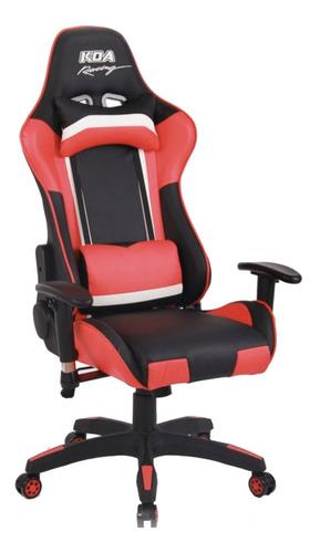 Imagen 1 de 1 de Silla de escritorio Koa Racing GAM720 gamer ergonómica  negra, roja y blanca con tapizado de cuero sintético
