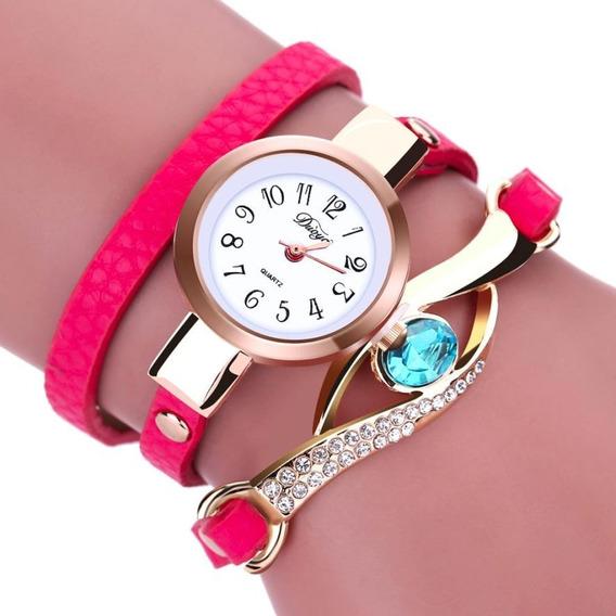 Relógio Pulseira De Couro, Com Pedra Feminino Promoção