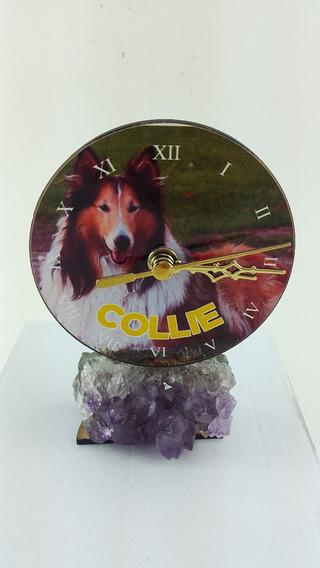 Relógio De Mdf Com Adesivo De Cachorro Collie E Ametista