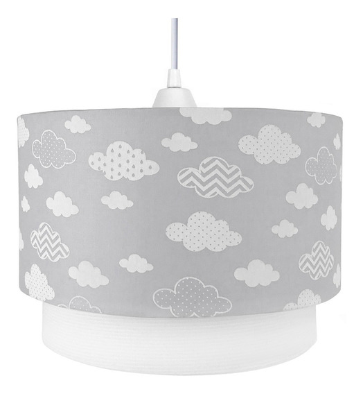 Pendente Cinza Nuvem Chevron Nuvem Bebê Luminária Lustre