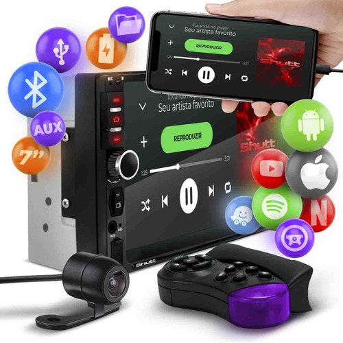Mp5 Player 2 Din Bluetooth Usb Espelhamento Sd Miami Shutt