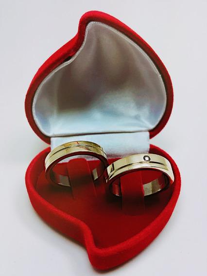 Aliança De Casamento Banhada A Ouro 18k - (somente O Par)