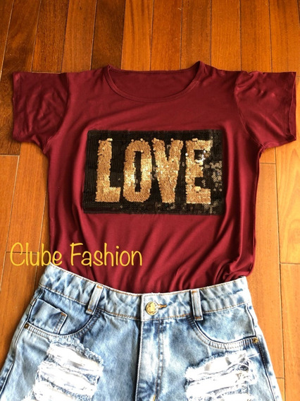 T-shirts Camisetas Feminina Estampa Love Malha Algodao