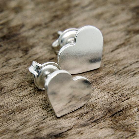 Brincos Corações Feminino Em Prata 950 Polido