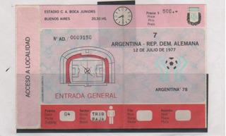 Antigua Entrada Argentina Vs Alemania Año 1977 Cancha Boca