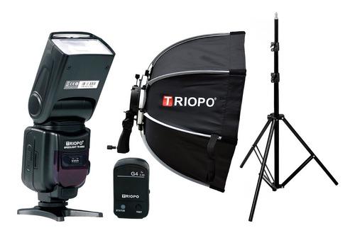 Imagen 1 de 8 de Kit Flash Triopo 950ii Disparador Columna Hexa Soft Box 55cm