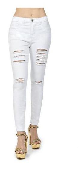 Pantalón Roto Blanco Para Dama Mundo Terra 019519