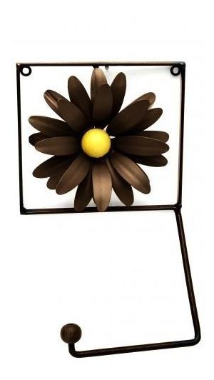 Porta Papel Higiênico De Ferro Artesanato Com Flores Toalete