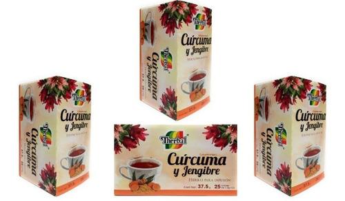 Te De Curcuma Y Jengibre Therbal 25 Sobres (4 Pz) Envio Full