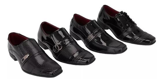Sapato Social Verniz Masculino Kit Com 4 Pares Diferentes