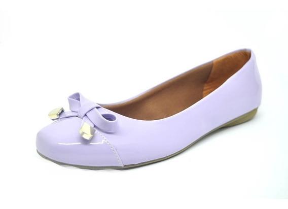Sapatos Femininos Sapatilha Bico Quadrado Verniz Dani K