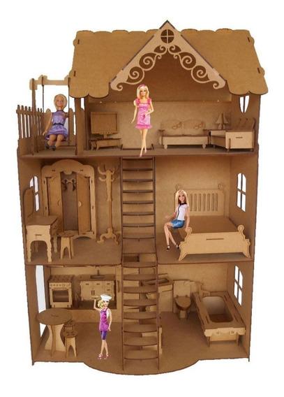 Casa Casinha Boneca Barbie + 24 Lindos Móveis Mdf Cru Csb1
