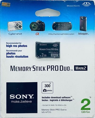 Cartão De Memória Memory Stick Pro Duo Sony 2gb Original